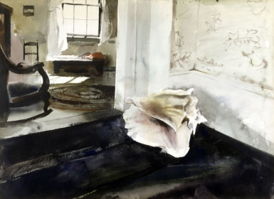 <h5><em>Conch Shell</em>, 1944 watercolor on paper, 21 x 29 in. Private Collection</h5><p>© 2016 Andrew Wyeth / Artists Rights Society (ARS), NY</p>