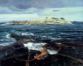"<h5><em>Little Caldwells Island</em>, 1940 tempera on panel, 32 x 40 in. Private Collection on loan to the <a href=""https://www.mmam.org/"" target=""_blank"">Minnesota Marine Art Museum, Winona, Minnesota</a></h5><p>© 2016 Andrew Wyeth / Artists Rights Society (ARS), NY</p>"