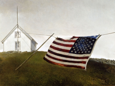 <h5><em>Battle Ensign</em>, 1987 tempera on panel, 22.75 x 30.625 in. Private Collection</h5><p>© 2016 Andrew Wyeth / Artists Rights Society (ARS), NY</p>