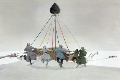 <h5><em>Snow Hill</em>, 1989 tempera on panel,18 x 72 in. Private Collection</h5><p>© 2016 Andrew Wyeth / Artists Rights Society (ARS), NY</p>