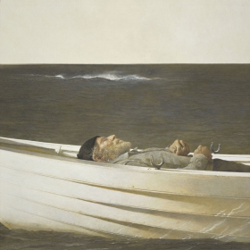 <h5><em>Adrift</em>, 1982 tempera on panel, 27.63 x 27.63 in. Private Collection</h5><p>© 2016 Andrew Wyeth / Artists Rights Society (ARS), NY</p>