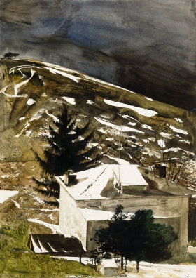"""<h5><em>Wolf Moon</em>, 1975 watercolor on paper, 40.125 x 29 in. </h5><p>© 2016 Andrew Wyeth / Artists Rights Society (ARS), NY  <a href=""""http://www.artres.com/C.aspx?VP3=ViewBox_VPage&VBID=2UN365UE68NPH&IT=ZoomImageTemplate01_VForm&IID=2UNTWASACZEG&PN=33&CT=Search&SF=0"""" target=""""_blank"""">