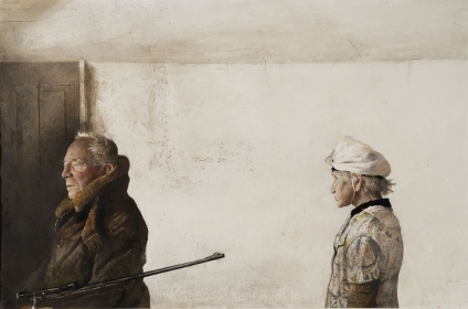 <h5><em>The Kuerners</em>, 1971 drybrush on paper, 26.5 x 40.125 in. Private Collection</h5><p>© 2016 Andrew Wyeth / Artists Rights Society (ARS), NY</p>