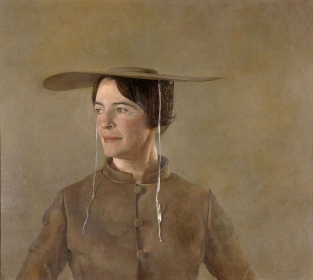 <h5><em>Maga's Daughter</em>, 1966 tempera on panel, 26.5 x 30.25 in. Private Collection</h5><p>© 2016 Andrew Wyeth / Artists Rights Society (ARS), NY</p>