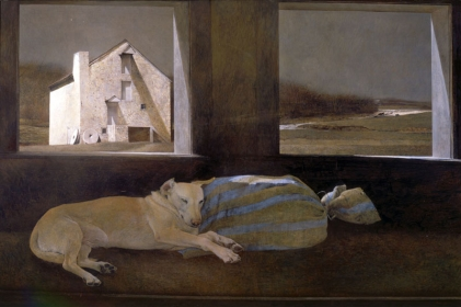 """<h5><em>Night Sleeper</em>, 1979 tempera on panel, 18 x 72 in. Private Collection</h5><p>© 2016 Andrew Wyeth / Artists Rights Society (ARS), NY  <a href=""""http://www.artres.com/C.aspx?VP3=ViewBox_VPage&VBID=2UN365UE6R37T&IT=ZoomImageTemplate01_VForm&IID=2UNTWASACX93&PN=31&CT=Search&SF=0"""" target=""""_blank"""">