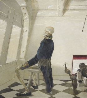 """<h5><em>Dr. Syn</em>, 1981 tempera on panel, 21.5 x 19 in. Private Collection</h5><p>© 2016 Andrew Wyeth / Artists Rights Society (ARS), NY  <a href=""""http://www.artres.com/C.aspx?VP3=ViewBox_VPage&VBID=2UN365UE64DHL&IT=ZoomImageTemplate01_VForm&IID=2UNTWASACTVM&PN=34&CT=Search&SF=0"""" target=""""_blank"""">