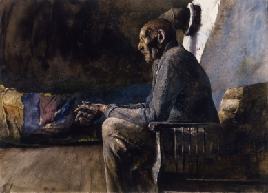 <h5><em>Chester County</em>, 1962 drybrush and watercolor on paper, 22.2 x 30.75 in. Private Collection</h5><p>© 2016 Andrew Wyeth / Artists Rights Society (ARS), NY</p>