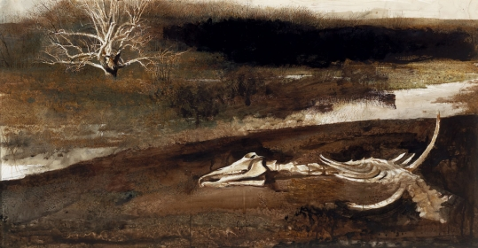 <h5><em>Night Mare</em>, 1973 watercolor on paper, 20 x 39 in. Private Collection</h5><p>© 2016 Andrew Wyeth / Artists Rights Society (ARS), NY</p>