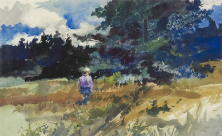 <h5><em>Big Spruce</em>, 1938 watercolor on paper, 19 x 29.625 in. Private Collection</h5><p>© 2016 Andrew Wyeth / Artists Rights Society (ARS), NY</p>
