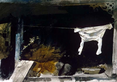 <h5><em>The Bachelor Study</em>, 1964 watercolor on paper, 16 x 22.375 in. Private Collection</h5><p>© 2019 Andrew Wyeth / Artists Rights Society (ARS), NY</p>