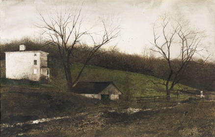 "<h5><em>Evening At Kuerners</em>, 1970 drybrush on paper, 25.5 x 39.75 in. Private Collection</h5><p>© 2016 Andrew Wyeth / Artists Rights Society (ARS), NY  <a href=""http://www.artres.com/C.aspx?VP3=ViewBox_VPage&VBID=2UN365UE64400&IT=ZoomImageTemplate01_VForm&IID=2UNTWASACACA&PN=30&CT=Search&SF=0"" target=""_blank"">