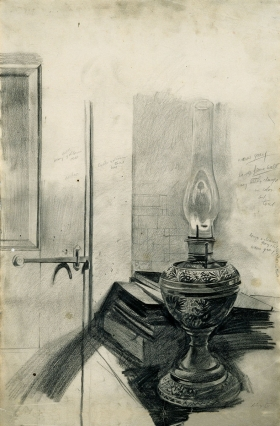 "<h5><em>Oil Lamp Study</em>, 1946 pencil on paper, 21.75 x 14.5 in. <a href=""http://marunuma-artpark.co.jp/"" target=""_blank"">Collection of Marunuma Art Park, Asaka Japan</a></h5><p>© 2016 Andrew Wyeth / Artists Rights Society (ARS), NY</p>"