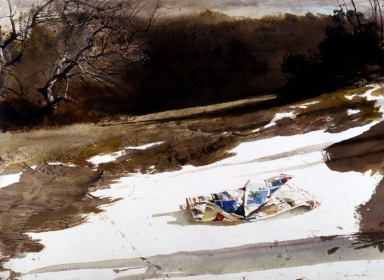 <h5><em>Sunday Times</em>, 1987 watercolor on paper, 22 x 30 in. Private Collection</h5><p>© 2016 Andrew Wyeth / Artists Rights Society (ARS), NY</p>
