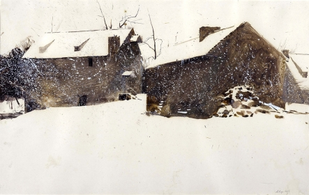<h5><em>The Granary</em>, 1961 watercolor on paper 13.625 x 21.625 in. Private Collection</h5><p>© 2016 Andrew Wyeth / Artists Rights Society (ARS), NY </p>