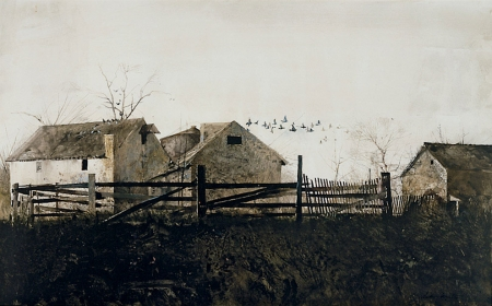 <h5><em>The Mill</em>, 1959 drybrush on paper, 13.75 x 22.5 in. Private Collection</h5><p>© 2016 Andrew Wyeth / Artists Rights Society (ARS), NY </p>