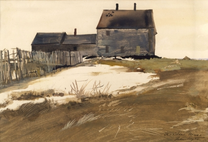 <h5><em>The Olson House</em>, 1954 watercolor on paper, 10.125 x 16 in. Private Collection</h5><p>© 2016 Andrew Wyeth / Artists Rights Society (ARS), NY </p>