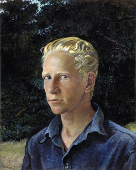 <h5><em>Young Swede</em>, 1938 tempera on panel, 20.25 x 16.5 in. Private Collection</h5><p>© 2016 Andrew Wyeth / Artists Rights Society (ARS), NY </p>