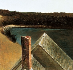 <h5><em>End of Olsons</em>, 1969 tempera on panel, 18.75 x 19.125 in. Private Collection</h5><p>© 2016 Andrew Wyeth / Artists Rights Society (ARS), NY</p>