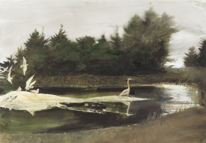 <h5><em>The Pond</em>, 1997 watercolor on paper, 27.5 x 39.25 in. Private Collection</h5><p>© 2016 Andrew Wyeth / Artists Rights Society (ARS), NY</p>